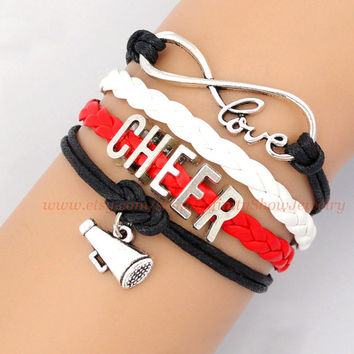 Cheer Bracelet, Love To Infinity and Beyond, Infinity Love, Love to Cheer, Cheer, Cheerleading, Cheerleader, Megaphone, Red, Black, White