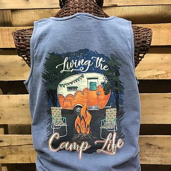 Southern Chics Livin the Camp Life Girlie Comfort Colors Bright T Shirt Tank Top