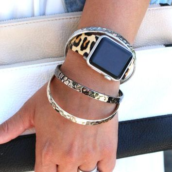 Leopard Leather Apple Watch Bands   Animal Print Apple Replacement Band
