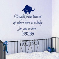 Elephant Wall Decal Quote Straight From Heaven Up Above Here is a Baby for You to Love Vinyl Stickers Bedroom Design Boy Nursery Decor KI80