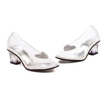 2 Inch Heel Clear Slipper Children's (Small,Clear/Silver)