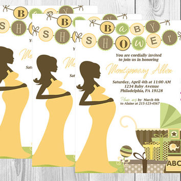 Elegant Neutral Baby Shower Invitation/Baby Shower/Yellow/Green/Brown/Neutral Baby Shower/Stroller/Mom-To-Be/Digital/Printable