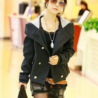 Wholesale Graceful Double-breasted Hooded Short Coat Deep Grey