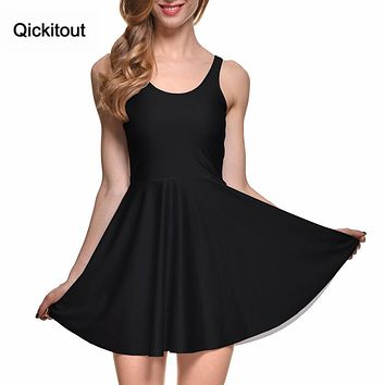 Fashion Women Casual Work Dresses Fit and Flare Digital Printing MATTE REVERSIBLE SKATER DRESS Vestidos