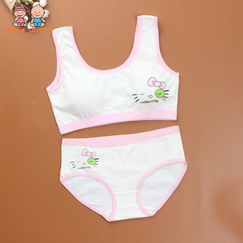cf5b5800bd Sport Teenage Underwear Bra Set Cartoon Lingerie Kids Cotton Young Girls  Training Bras Wireless Teenage Underwear