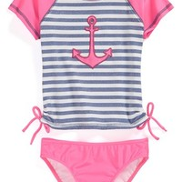 Love U Lots 'Anchor' Two-Piece Rashguard Swimsuit (Toddler Girls)