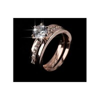 .5ct Round 18K Rose Gold Plated Wedding Set - RIN-6020
