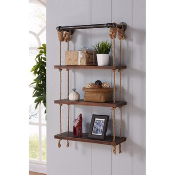 "24"" Brannon Modern Pine Wood Floating Wall Shelf in Gray and Walnut-Armen Living"