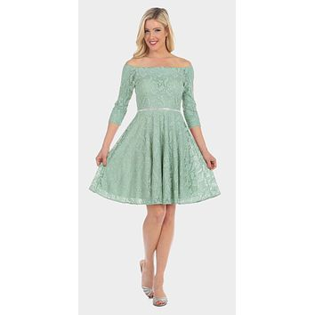 CLEARANCE - Off-the-Shoulder Short Lace Homecoming Dress Sage Green (Size XL)