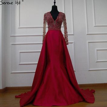 Arabic Long Sleeve Red Elie Saab Mermaid Formal Evening Party Prom Gown Dress Abiye Dresses Avondjurken Gala Jurken 2018 BLA6312