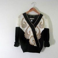 80s beaded sweater. sweater with beads. black and white sweater // women's size S