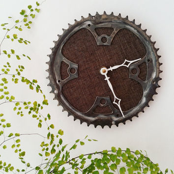 Bike Gear Clock, Steampunk Wall Clock, Industrial Clock, Cyclist Gift, Upcycled Bike Clock, Unique Steampunk Wall Clock, Cycling Clock