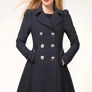 Navy Blue Plain Double Breasted Military Peplum Peacoat Trench Coat