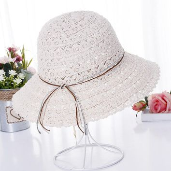 Lace Outdoor Hat Summer Leisure  Fisherman Hat Foldable Adjustable Wide Brim Lady Woman Hat In Summer 56-58CM Round 8.5CM Brim