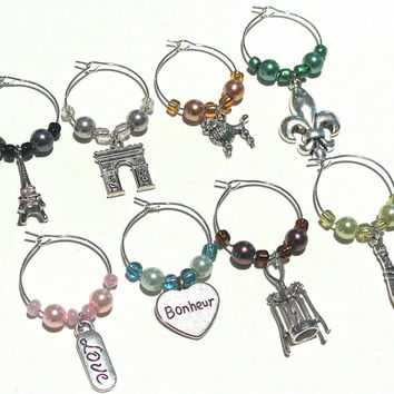 Paris Wine Charms- 8 France Wine Glass Tags, World Traveler, Parisian, Eiffel Tower, L'Arc de Triomphe, Fleur De Lis, Euro Charms, Poodle