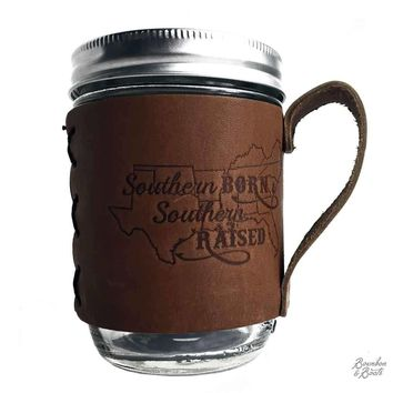 Southern Inspired Wide Mouth Mason Jar With Leather Sleeve & Handle