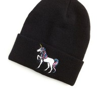 EMBROIDERED UNICORN FOLD-OVER BEANIE