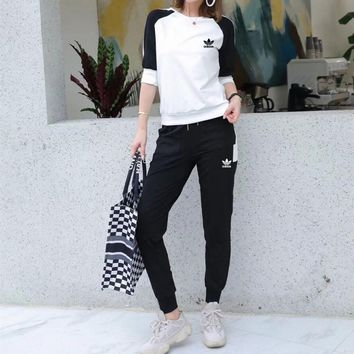 Adidas Loose Round Neck Long Sleeve  Cotton Blend Pattern Multicolor Simple Casual Fashion Two-Piece Suit Clothes