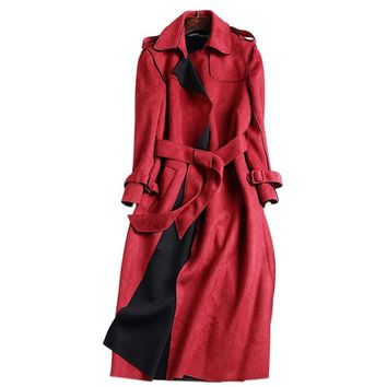 New Autumn Suede Trench Coat Women Long Elegant Outwear Female Overcoat Slim Red Suede Cardigan Trench