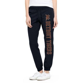 ONETOW MLB Detroit Tigers 47 Brand Womens Fall Navy Shimmer Cross Check Pants