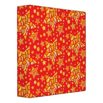 Golden Stars Pattern 3 Ring Binder