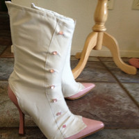 Mary Poppins Jolly Holiday White Spats boot covers pink buttons zipper side