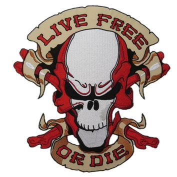 "LIVE FREE OR DIE Skull Biker Big Embroidered Back Patch 10.4""/26.5cm"