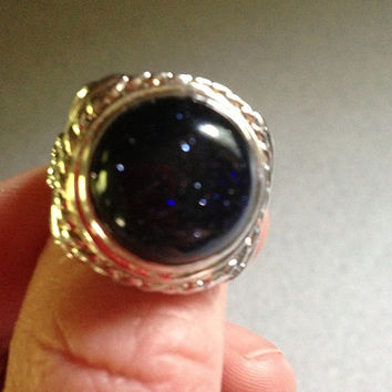 Huge RING 18 CT Cara Black Sun Sitar 925 Sterling Silver Size 7 Round Cut Sparkly Vintage Stone Engagement Cocktail Wedding