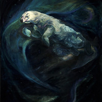 Polar Bear Swimming in Northern Lights Stretched Canvas by Christine Montague