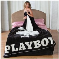 Classic Black Playboy Bunny Head with Tuxedo Covertures Blanket Throw Queen or Full Bed