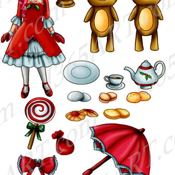 Christmas Tea Party Hand Drawn Clipart Set Includes Christmas Girl, Teddy Bears, Teapot, cookies, Red Ribbon PNG & JPEG for Commercial use