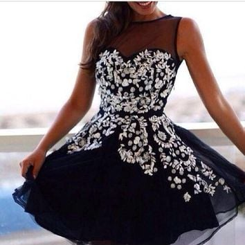 A Line Flowery Sweetheart Homecoming Dresses Fast Free Shipping