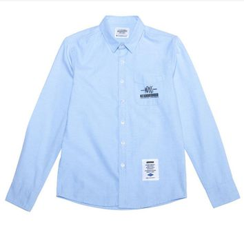 MDNS leisure simple tide paragraph wild printing English shirt long-sleeved shirt Light blue