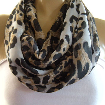 Chiffon leopard..Brown, Black and White... .Necklace scarf..Infinity scarf..Tube version