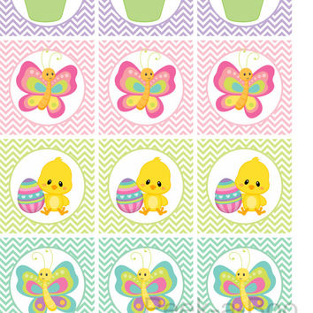 Printable easter cupcake toppers instant download easter decoration round stickers easter favor