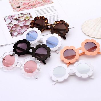 Vintage Round Flower UV400 Toddler Sunglasses Girl