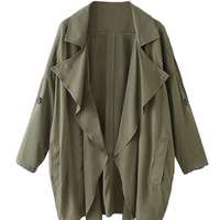 Olive Lapel Roll Up Sleeve Coat