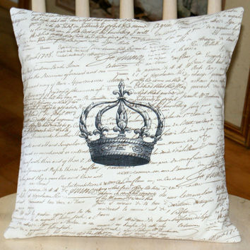 Cotton Pillow Cover - Fleur de Lis Crown French Writing, 14 inch