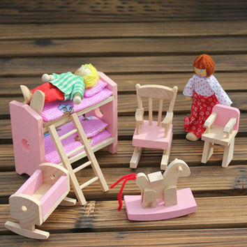 Wooden Doll Bunk Bed Set Furniture Dollhouse Miniature For Kids Child Play Toy  Educational Toy Wooden Toys  Baby Toys Gift
