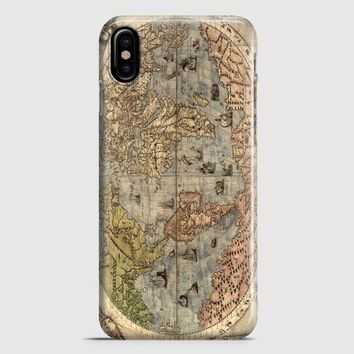 Old Retro World Map iPhone X Case