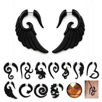 Acrylic Black Fake Spiral Ear Taper Gauges Twist Expanders Earring White Cheater Piercing Body Jewelry