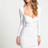 White Sweetheart Wrapped Ruche Dress