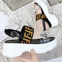 FENDI Popular Women Casual Thick Sole Diamond Sandals Shoes