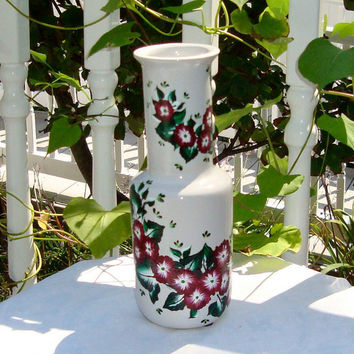 Hand Painted White Vase With Red Flowers, Home Decor