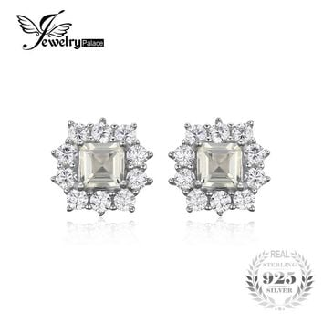 JewelryPalace Classic 1.3 ct Square Natural Lemon Quartz Stud Earrings Real 925 Sterling Silver Earrings For Women Fine Jewelry