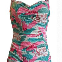 CLASSIC SHEATH FLAMINGO Swimsuit Tiki Pink Green vintage