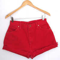 Vintage Red High Waisted Cut Off Denim Shorts 13 Jean Distressed 29""