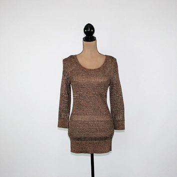 Metallic Sweater Womens Bronze Brown Open Weave Knit Top Small 3/4 Sleeve Pullover Sweater Scoop Neck Sparkly Dressy Womens Clothing