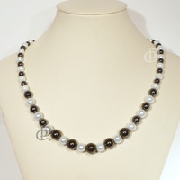 Magnetic Black White Necklace Round Beads, 5000 Gauss Black Clasp