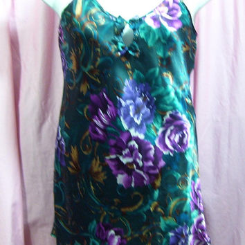 Satin Night Gown, Short Sexy Chemise, Teal Green Floral, Adonna, Size S Small, Bridal Honeymoon, Resort Cruise Wear